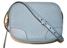 Gucci Micro GG Guccissima Blue Leather Bree Crossbody Bag - $595.00