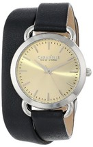 Caravelle Womens Watch Quartz Beige Dial Black Leather Strap 43L163 - $32.19