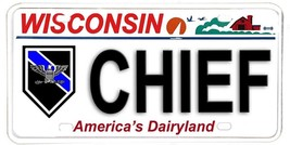 Wisconsin Aluminum NOVELTY License Plate Law Enforcement - Chief of Police - $12.82
