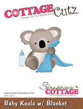 Baby Koala  wtih Blanket.  Cottage Cutz Die. Card Making. Scrapboking