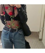 Summer Sexy Transparent Mesh Tops Tees Women Rose Floral Embroidery T-Sh... - $24.58