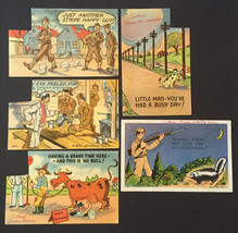 Vintage Lot of 5 WWII Comic Illustrated Postcards • 1942 Tichnor Bros • USED - $9.85