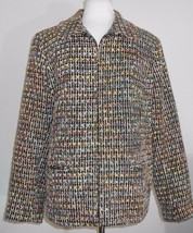 Sag Harbor Womens Jacket Size 14 Nubby Black Coat Blazer Metallic Threads - $18.81