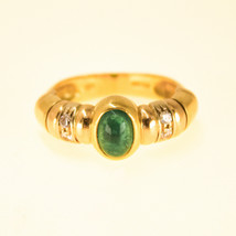 Cabochon Emerald Ring 18k Yellow Gold and diamond Ring UK Size L BHS - $1,356.53