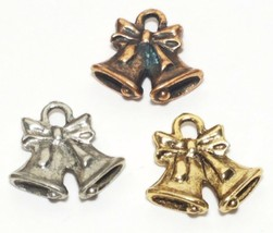 HOLIDAY BELLS FINE PEWTER PENDANT CHARM 15x14.5x3.5mm