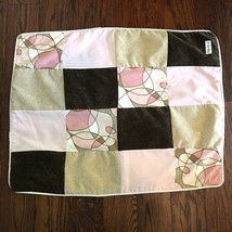 Glenna Jean Pink Scribbles Crib Quilt Pink Brown Retro Patchwork Velour ... - $44.90