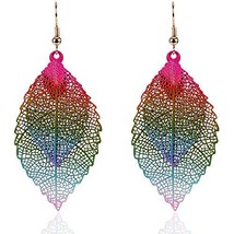 Feather Dangle Earrings: Metal Layered Colorful Leafs Pink & Blue - $18.75