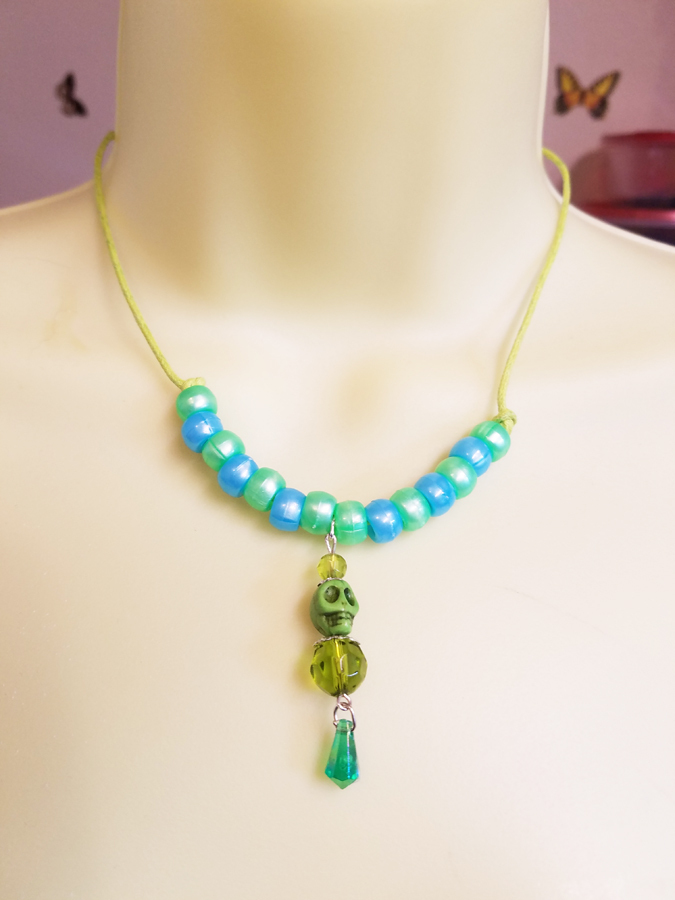 skeleton skull green beaded drop necklace cord goth punk womens teen jewelry