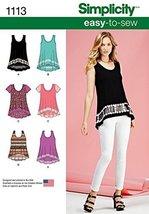 Simplicity Patterns 1113 Misses' Easy-To-Sew Knit Tops, A (XXS-XS-S-M-L-XL-XXL) - $13.48