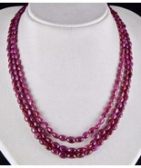 NATURAL UNTREATED RUBY BEADS LONG CABOCHON 3 LINE 318 CTS GEMSTONE NECKLACE - $836.00