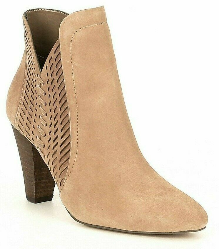 Primary image for Women Vince Camuto Rotiena Suede Laser Cut Booties, Multi Sizes Wild Mushroom VC