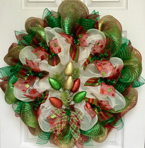 All Is Bright Christmas Lights Handmade Deco Mesh Holiday Wreath - $89.99