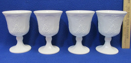 Indiana Milk Glass Wine Glasses Goblets Harvest Grape Opaque Set 4 Vintage - $17.81