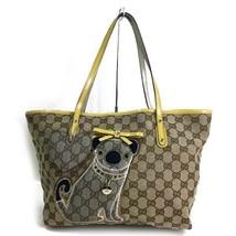 Gucci Authentic GUCCIOLI Pug Dog GG Logo Canvas Tote Bag Beige Used - $599.99