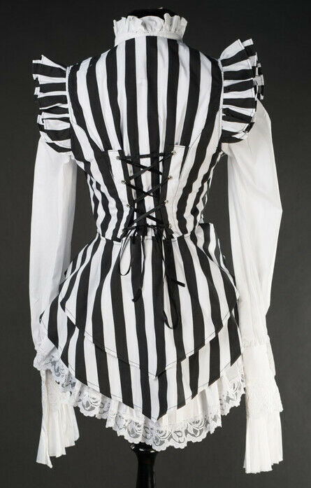 Black White Striped Victorian Gothic Corset Back Vest Beetlejuice Waistcoat