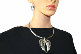 """Wing Pendant & Matching Earrings Set With 18"""" Omega Chain Stainless - $50.00"""