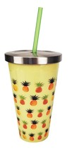 :10851B  Pineapples On Yellow Stainless Steel 16oz Cup w/ Straw - $20.45