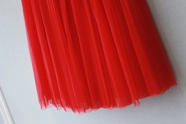 RED Long Tulle skirt Women Red Tulle Long Maxi Skirt Red Wedding Party Skirts image 4
