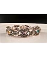 Vintage Heavy  Sterling Marcasite and Semi Precious Stone Bracelet  - $95.00