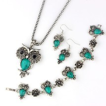 VIVILADY Fashion Owl Jewelry Sets Women Vintage Silver Color Black Blue ... - ₹1,016.63 INR
