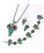 VIVILADY Fashion Owl Jewelry Sets Women Vintage Silver Color Black Blue ... - £10.95 GBP