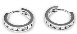Sterling silver 0.925 New bling  hoop earrings with  white ZC Rhodium pl... - $24.75