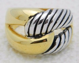 Vintage Dual Silver Gold Tone Intertwined Infinity Ring Size 8.25 - $16.83