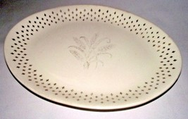 "Homer Laughlin Golden Wheat Platter Fleur de lis USA Vtg Gold 13"" Oval W... - $34.64"