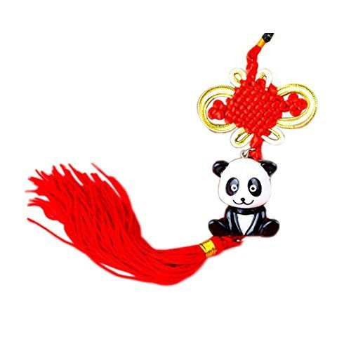 Creative Decoration Chinese Knot Tassel Panda Shaped Hang Decor for Car, D