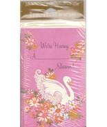 Vintage Shower Invitations Swan Pink American Greetings 10 Cards With En... - $6.92