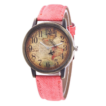 Ladies Watches Fashion Vintage World Map Printing Women Watches TkHirmoly Pink - $12.99