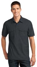 Port Authority K557 Men's Double Pocket Polo Shirt - Black/Monument Grey - $20.78+