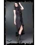 Women's Black Tapered Long Hooded Goth Dress Alternative Fashion Street ... - $82.83