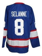 Any Name Number Winnipeg Jets Retro Hockey Jersey Blue Selanne Any Size image 5