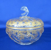 Heisey, Chocolate Box with Gold Clover Overlay, Crystal Candy Box, c. 19... - $35.00