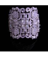 "Fabulous deco style bracelet - 2 1/2"" wide Dazzling rhinestones - baguet... - $175.00"