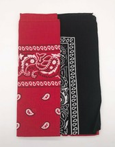 "UrSkyToUs Brand Lot of 2 Bandanas, Red & Black, 21.2"" X 21.2"" NEW CA1 - $9.90"