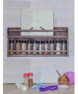 Wall Mount Wood Spice Rack & Recipe Book Holder, Reclaimed Oak Style Sto... - $44.99