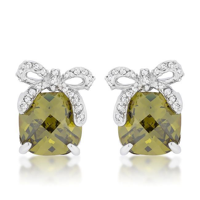 Olivine Drop Earrings with Bow - $33.00