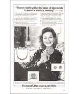 Lauren Bacall 1980 AD Diamonds Blaze Gold Glitters Antique Jewels Fortun... - $10.99