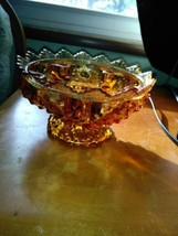 Vintage 1950s Fenton Glass Pat #3547569 Amber Glass Hobnail Candle Holder - $27.08