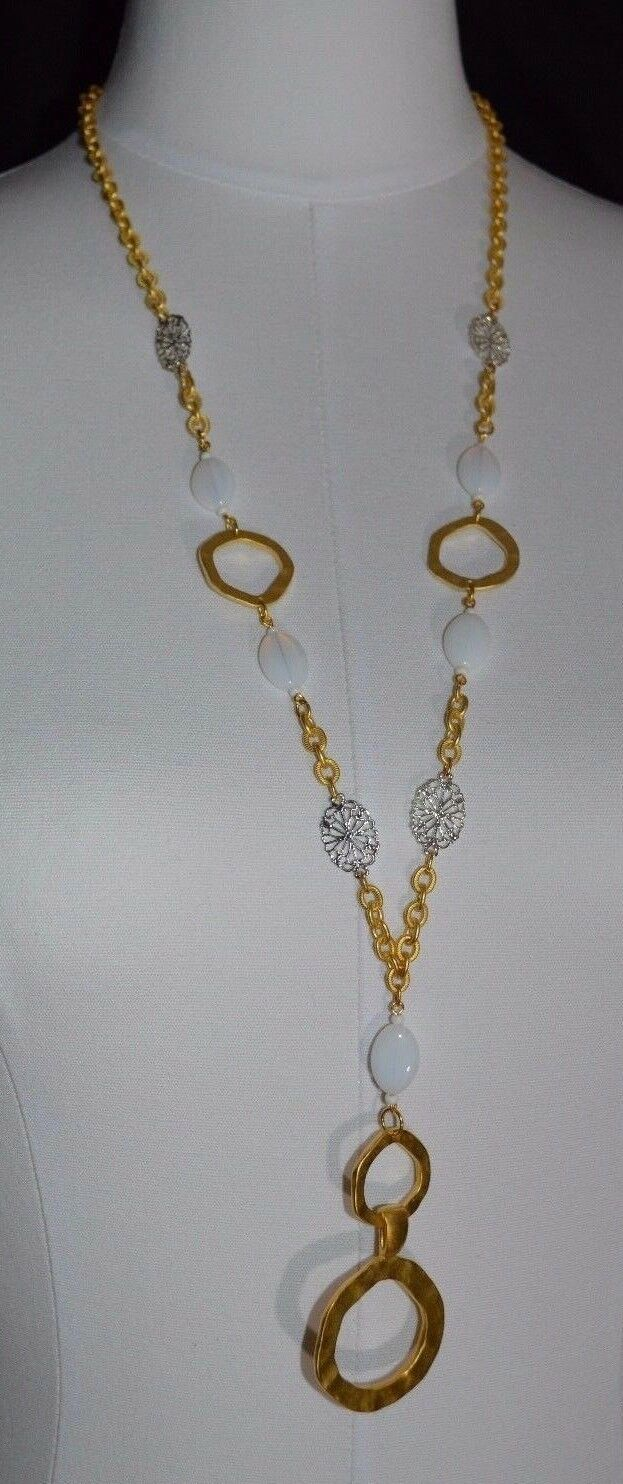 ROSA FLORES Gold Tone Chain Link Iridescent Glass Snowflake Necklace New - $29.70