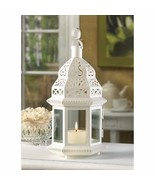Creamy White Moroccan Style Lantern Clear Glass Panels Wedding Centerpieces - $12.69