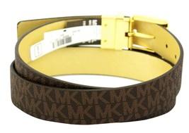 Michael Kors Women's MK Logo Premium Leather Reverisble Belt Brown 551508 image 2
