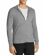 Theory Layer Zip Hooded Sweatshirt Slim-Fit Gray Soft Cotton Jacket Swea... - $44.50