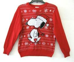 Hybrid Peanuts Snoopy Unisex Strickpullover Größe 6 Rot Multi Urlaub Neu... - $29.68