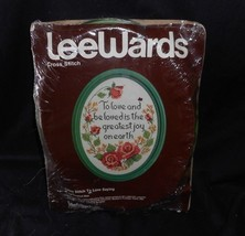 """VINTAGE LEEWARDS CROSS STITCH TO LOVE & BE LOVED ROSE FLOWER SAYING 9"""" X... - $32.73"""
