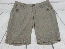 Billabong Womens Casual Striped Shorts Size 7 Brown Blue Stripes - EUC E... - $15.14