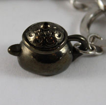 925 STERLING SILVER BRACELET RUTILATED QUARTZ BURNISHED COFFEEPOT TEAPOT PENDANT image 7