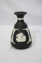"Vintage WEDGWOOD Cream on Black Jasperware 4.5"" Cameo Flower Bud Vase, E... - $49.99"